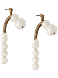 Carven Faux Pearl Embellished Stud Earrings White