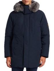Madison Supply Fox Fur Trim And Rabbit Lined Down Parka Ink Black