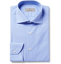 Canali Blue Slim Fit Cutaway Collar Checked Cotton Poplin Shirt Blue