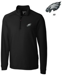 Cutter And Buck Men's Philadelphia Eagles 3D Emblem Jackson Overknit Quarter Zip Pullover Black