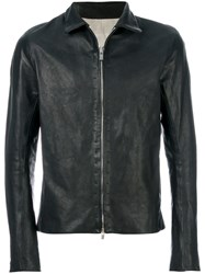 A Diciannoveventitre Slim Fit Leather Jacket Horse Leather Black