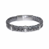 Marlin Birna Atlantic Salmon Leather Bracelet Double Cord Grey And Stainless Steel Grey Silver