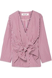 Diane Von Furstenberg Tie Front Striped Cotton Poplin Shirt Burgundy