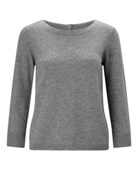 Jigsaw Button Back Silk Cuff Jumper Light Grey