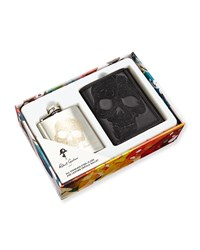 Robert Graham Sugar Skull Flask And Leather Wallet Boxed Set Men's