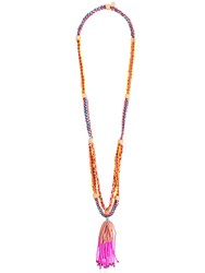 Red Valentino Multicolor Beaded Necklace W Tassel