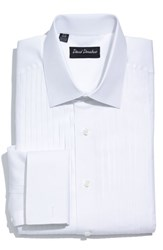 David Donahue Men's Big And Tall Regular Fit French Cuff Tuxedo Shirt White
