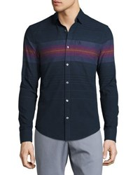 Penguin Ombre Striped Long Sleeve Shirt Blue