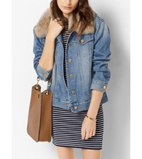 Fur Collar Denim Jacket Light Indigo