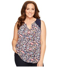 Lucky Brand Plus Size Della Floral Shell Navy Multi Women's Sleeveless Blue