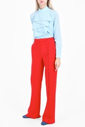 Marco De Vincenzo Button Detail Crepe Trousers Red