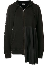 Each X Other Pleated Zip Front Hoodie Black