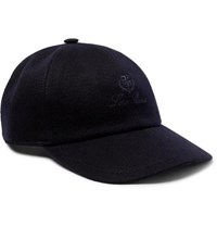 Loro Piana Logo Embroidered Storm System Baby Cashmere Baseball Cap Midnight Blue