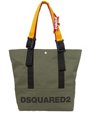 Dsquared Backpack Straps Logo Canvas Tote Bag Military Green