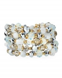 Emily And Ashley Multi Row Simulated Crystal Wrap Bracelet Ivory