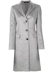 Tagliatore Classic Fitted Coat Women Polyamide Cupro Mohair Virgin Wool 46 Grey