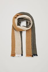 Cos Large Multi Stitch Wool Scarf Brown