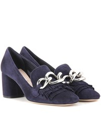 Miu Miu Embellished Suede Pumps Blue