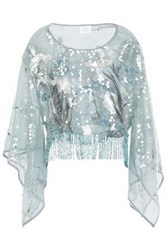 Anna Sui Woman Fringed Embellished Tulle Blouse Grey Green