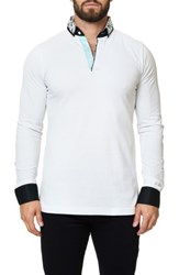 Maceoo Men's Long Sleeve Polo Solid White