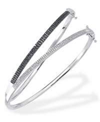 Macy's Black And White Diamond Set Of Two Bangles In Sterling Silver 1 3 Ct. T.W.