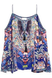 Camilla Woman Cold Shoulder Embellished Printed Silk Crepe De Chine Top Blue