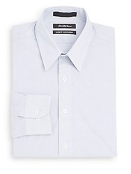 Saks Fifth Avenue Classic Fit Fine Striped Dress Shirt White Blue