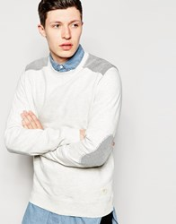 Bellfield Sweatshirt With Textured Shoulder Patches Ecru