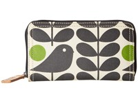Orla Kiely Early Bird Print Big Zip Wallet Granite Wallet Handbags Gray