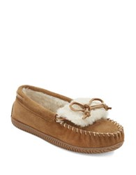 Sperry Bree Joy Faux Fur Lined Suede Moccasins Beige