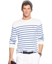 Polo Ralph Lauren Striped Pima Sweater White Royal