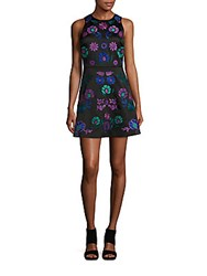 Cynthia Rowley Embroidered Floral A Line Dress Black