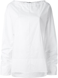 Marni Drawstring Collar Poplin Blouse White
