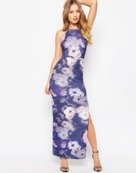 Asos High Neck Strappy Back Floral Print Maxi Dress Floral Multi