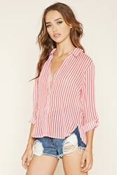 Forever 21 Striped Zip Back Shirt