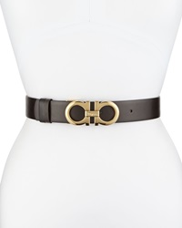 Salvatore Ferragamo 35Cm Reversible Leather Gancini Belt Brown Black
