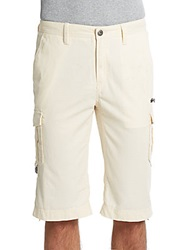 Saks Fifth Avenue Red Woven Cotton Cargo Shorts Ecru