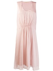 120 Lino Ruched Sleeveless Midi Dress Pink