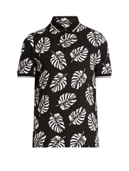 Dolce And Gabbana Leaf Print Cotton Polo Shirt Black Multi