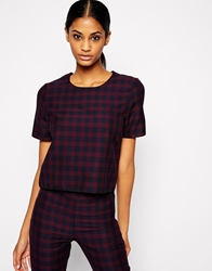 John Zack Boxy Top In Check Print