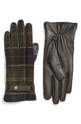 Barbour Women's Tartan Plaid And Leather Gloves