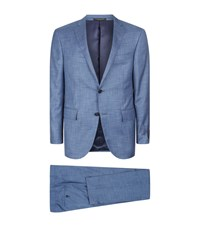 Corneliani Silk Wool Check Print Suit Male