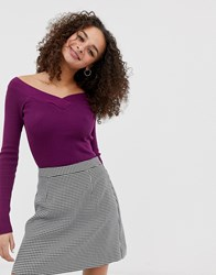 Brave Soul Skinny Rib Top With V Neck In Deep Berry Red
