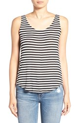 Splendid Women's Stripe Cowl Back Tank White Black