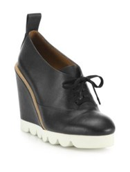See By Chlo Holly Leather Lace Up Wedge Booties Black