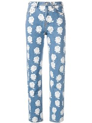 Kenzo High Waisted Floral Jeans Blue