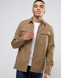 Pull And Bear Pullandbear Military Shirt With Double Pockets In Tan In Regular Fit Tan