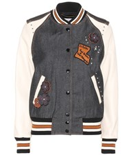 Coach Embellished Denim Varsity Jacket Grey