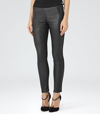 Reiss Fade Womens Leather Front Jeans In Black