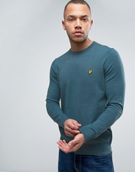 Lyle And Scott Crew Jumper Cotton Merino Knit Eagle Logo In Teal Light Teal Blue